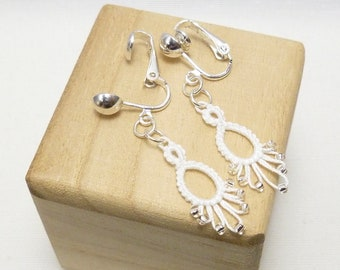 shuttle tatting Lace Earrings with glass beading -Flash Drips MTO clip on option