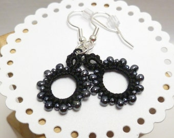 Earrings black Lace dangles Tatting with beading -Loops