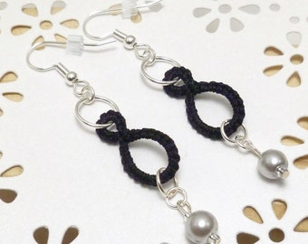 Tatted jewelry Ring earrings with silver pearls -Drops