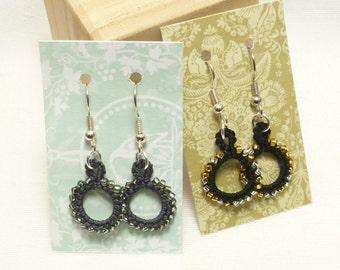 tatting jewelry Earrings modern dangles beading -Loops in gray or black MTO