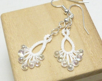 Wedding tatting jewelry dangling earrings with glass beads -Flash Drips MTO in many colors