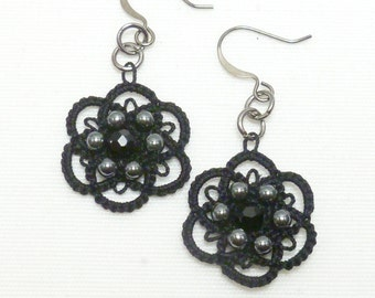 Tatted black dangle earrings tatted jewelry -Flourish with hematite and crystal handmade shuttle tatted lace for everyday or formal wear