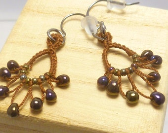 Dangling Earrings brown shuttle tatting handmade lace -Flash Drips with dark gold and purple beads