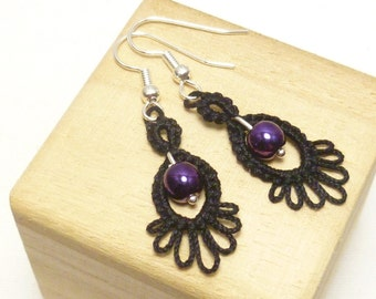 Tatting earrings handmade with beads -Frilly Drips MTO your color choice lace with glass beads