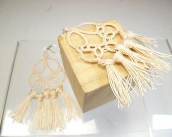 shuttle tat jewelry lace tassel earrings with glass beads -Tassels handmade earrings in off white for formal or casual wear or gift