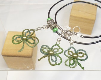 Tat jewelry set Lace Pendant and Earrings -Shamrocks in variegated green with Swarovski pearls handmade lace jewelry set leather necklace