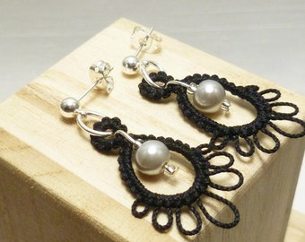 Shuttle tatted Lace Earrings with glass pearls -Frilly Drips in modern colors MTO casual jewelry handmade