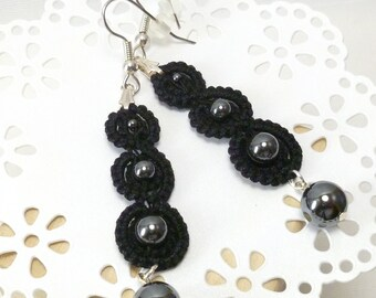 Tatted Modern Earrings with Hematite beads -Simplicity casual tatting jewelry