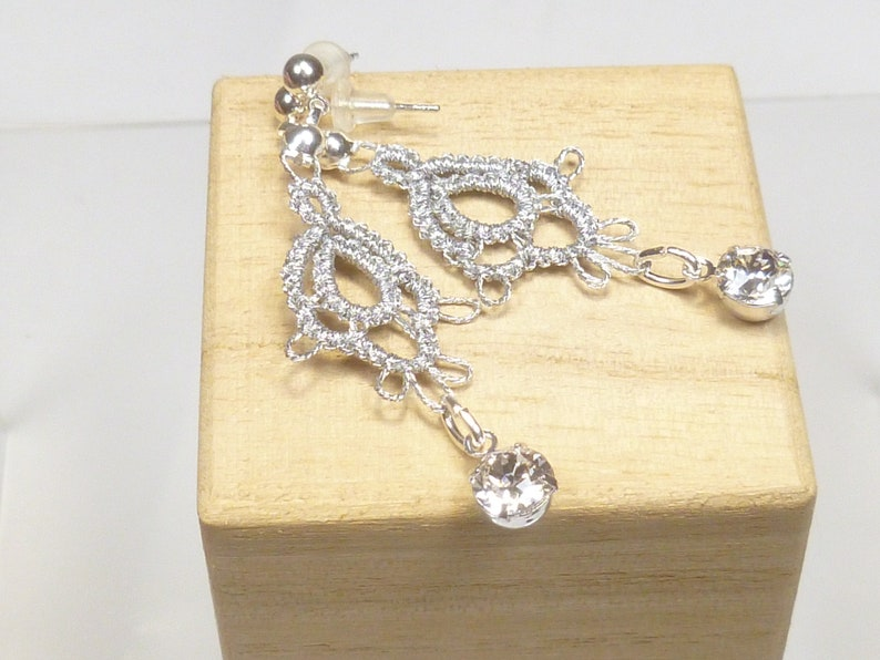 Tatted Lace Earrings with shiny silver thread and Swarovski image 1