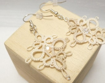 Tatting Earrings with beads in off white -Decadence dangles in shades of cream MTO
