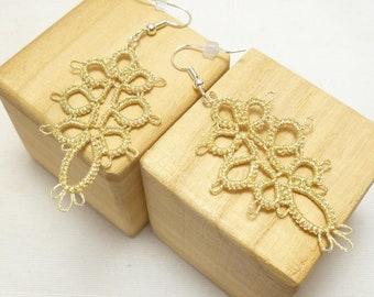 Tatted Lace Earrings in gold shimmery thread -Decadence handmade shuttle-tatted lace great jewelry gift or accessory for formal or casual