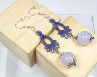 Tatted jewelry Drip earrings - Frilly Drips in navy with light blue stones and elegant bead caps long dangle earrings