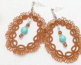 large handmade Tatted lace earrings lace with beads -Oval Essence in brown and turquoise shuttle tatted jewelry for gift or casual accessory