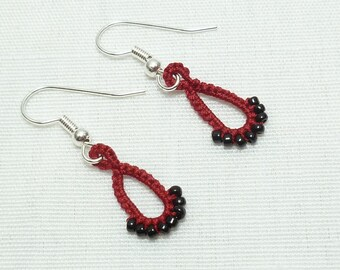 Tatted lace earrings in Victorian Red with black glass - Drips