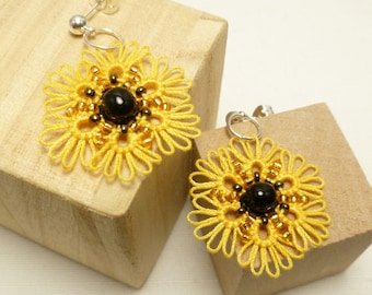Tatted jewelry Sunflower earrings with glass beading -Sunflowers MTO handmade lace earrings