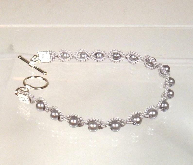 Tatting jewelry Bracelet with beads Halo handmade simple image 0