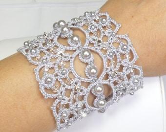 Shuttle Tatting Lace silver Cuff -The Queen's Lace-J Kohr Couture original design wearable fiber art wide beaded bracelet jewelry