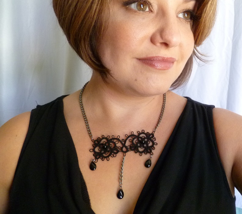Tatted modern lace necklace with Onyx drops Vogue Victorian image 1