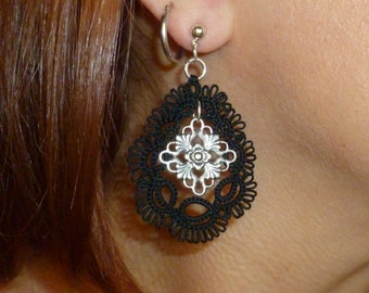 large handmade Tatted lace earrings lace with medallions -Oval Essence in black