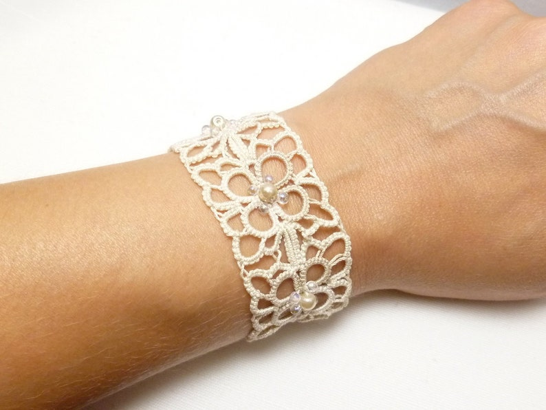 Wedding jewelry Tatted Lace bracelet Cuff in off white with image 0