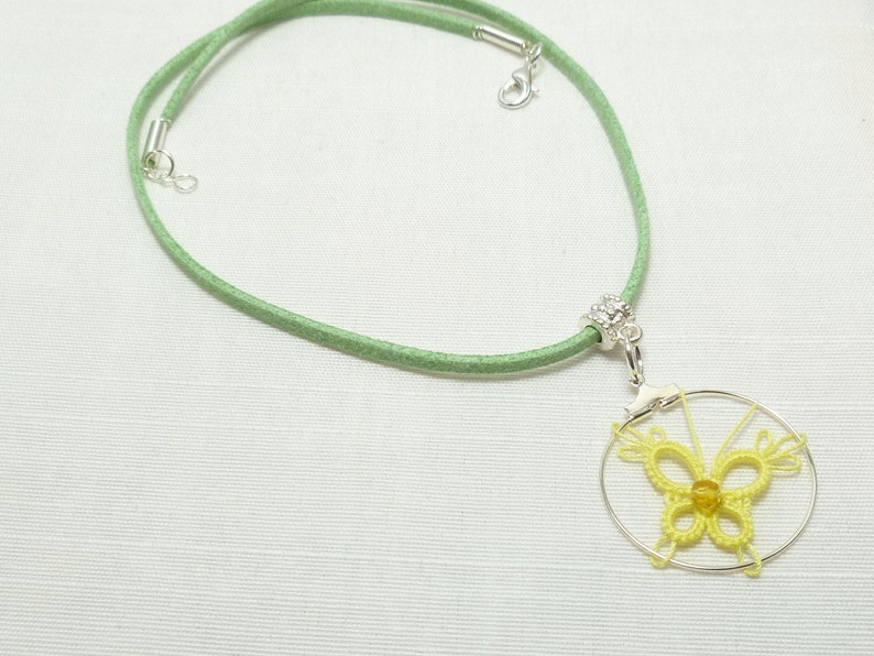 spring lemon PIXIE butterfly in small size necklace Tatting jewelry Lace Butterfly pendant