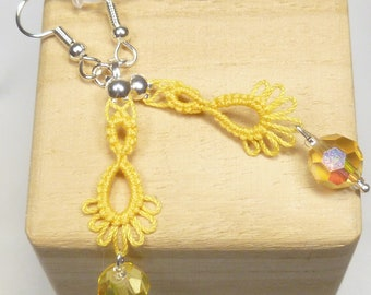 Tatted jewelry Drip earrings - small Frilly Drips in yellow with aurora borealis crystals long dangle earrings