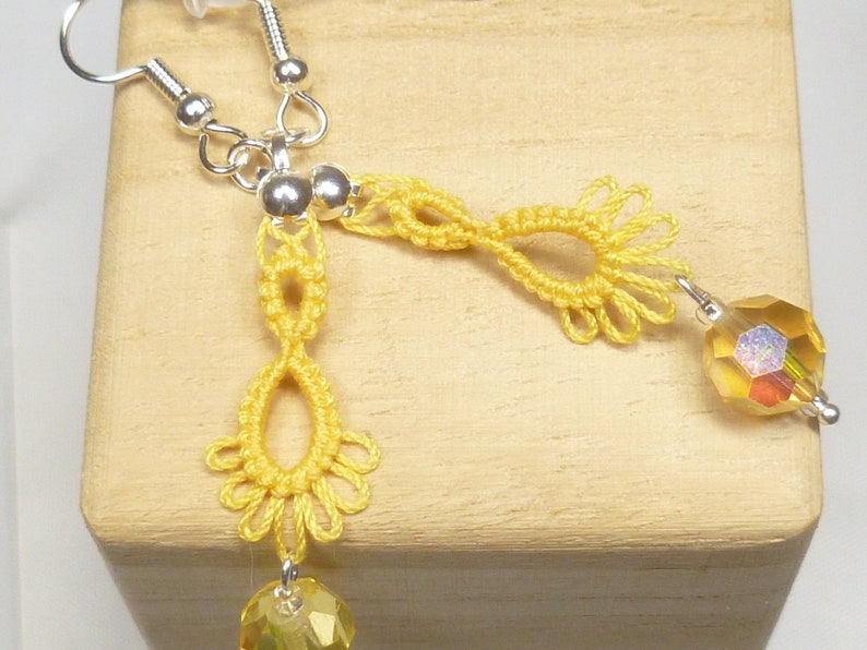 Tatted jewelry Drip earrings  small Frilly Drips in yellow image 1