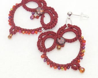 Valentine hearts Tatting jewelry lace earrings - Red Heart earrings with Garnet Cubic Zirconias for gift holiday dangles tatted lace