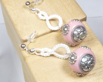 Shuttle Tatted dangling earrings-Drops in white modern lace with round pink and silver sparkling beads and sterling