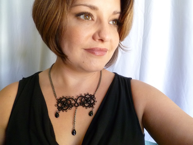 Tatted modern lace necklace with Onyx drops Vogue Victorian image 0