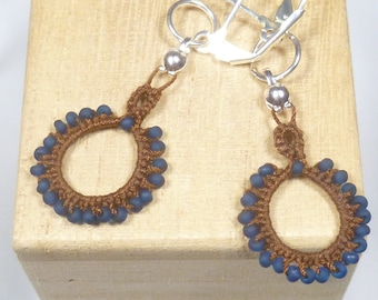Tat Earrings Lace dangles -Loops Tatting with blue matte beading for casual wear or unique gift