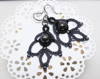Tatted Lace Earrings with Hematite and glass beads -Indulgence in charcoal and black fancy dangles with black beading for formal or casual