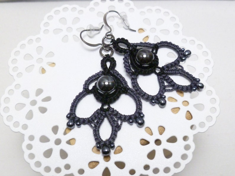Tatted Lace Earrings with Hematite and glass beads Indulgence image 0