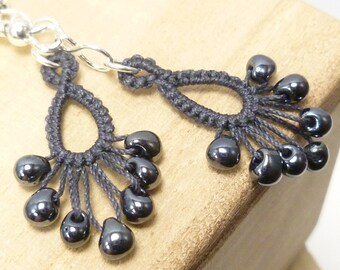Tatted dangle Earrings with glass beading -Flash Drips MTO many color options