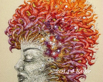 Fiber Art Painting- Dreamer original modern art framed thread painting embroidered face portrait with tatted butterflies Swarovski crystals