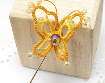 Tatting Lace Butterfly Stick Pin in gold -Lovely Vivien pin in your color choices MTO