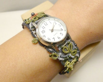 Watch with fiber art tatted band of flowers and leaves -The Garden Watch IV J Kohr Couture shuttle-tatting handmade wearable art