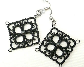 tat jewelry Shuttle Tatted Lace Earrings with Hematite beads -The Lacey handmade square earrings in your color thread modern square jewelry