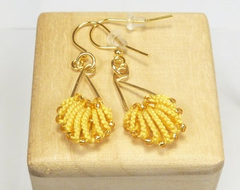 Tatted jewelry simple shell earrings Tatting - The golden Shells with silver lined gold glass beads