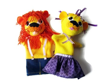 Pair Lion Hand Puppets/ Team Mascots/ Custom Made Puppet Set/Golden Lions