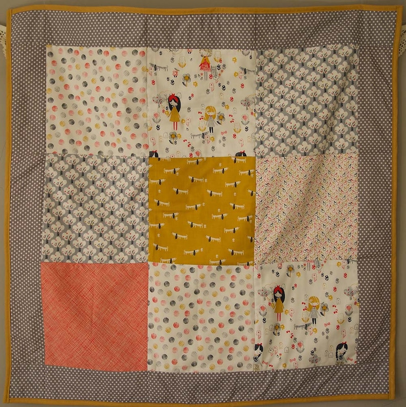 Baby Play Mat  Crib Blanket Baby Shower Gift Baby Room Decor Baby Bunting. Handmade Baby Quilt And Matching Bunting Set