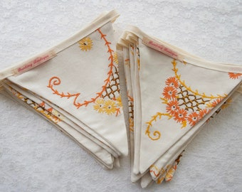 Vintage Tablecloth Embroidered Bunting - 3.5m Long