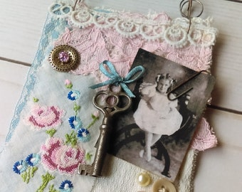 Pink and Blue Fabric Collage Wall Hanging