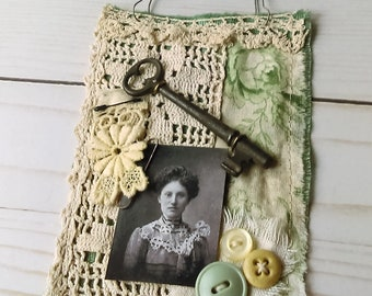 Green Fabric Collage Wall Hanging
