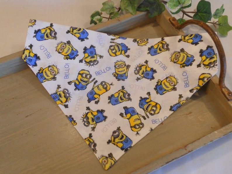 Dog Bandana...Slip on Design...Slides Over Collar...Minions.. Large