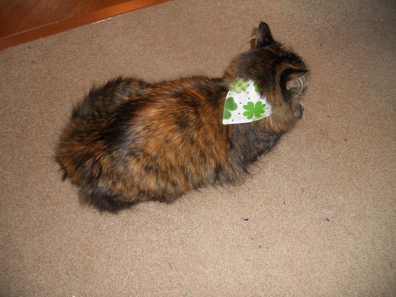 Dog and Cat Bandana...Slip on Design...Slides Over Collar...Shamrocks Galore...Small Large and Cat Sizes Medium