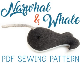 Narwhal Pattern and Whale Pattern - PDF Download for Stuffed Animal Sewing Pattern
