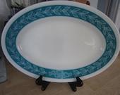 Pyrex Autumn Bands Turquoise Blue Laurel Vine Platter Tableware by Corning 793-32