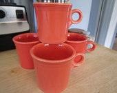 Fiestaware Mugs Homer Laughlin Mango Red Orange Coffee Cups Set of 4