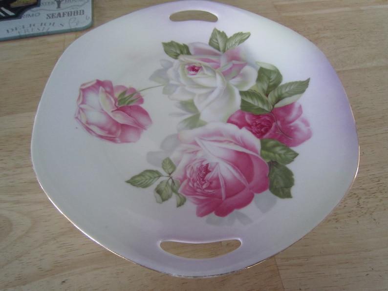 Z.S /& Co Bavaria China Elvira Pattern Cake Plate wHandles Hand Painted